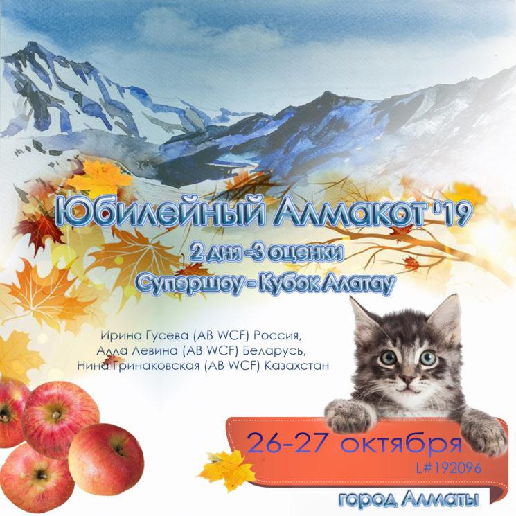 Выставка кошек «Юбилейный Алмакот 2019»