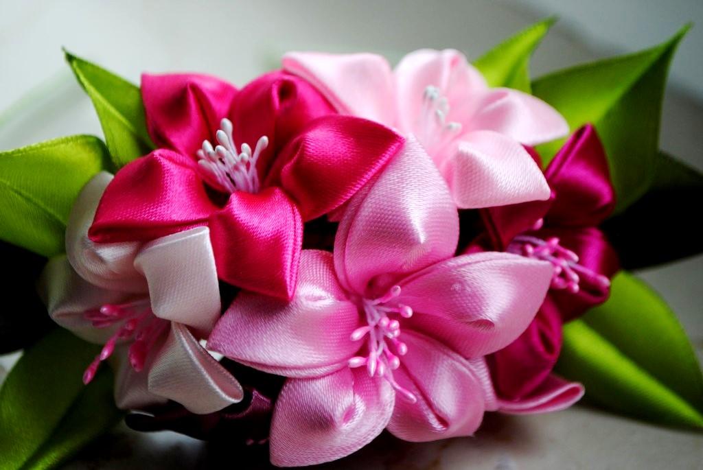 Атласные цветы фото мастер классы