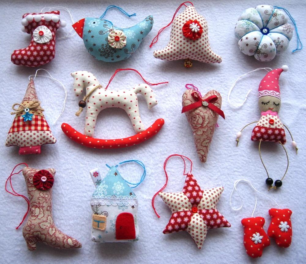 Ёлочные украшения из ткани своими руками