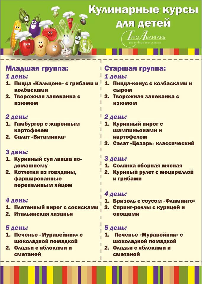 Весенние кулинарные курсы для детей