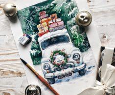 Мастер-класс открытка акварелью + каллиграфия