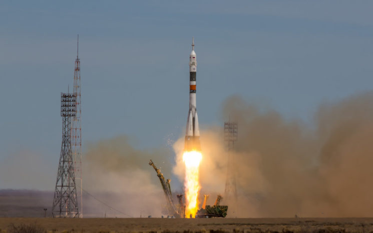 """Baikonur, Kazakhstan - April 20, 2017: Launch of the spaceship """"Soyuz MS-04"""" to ISS with shortened crew"""