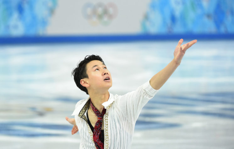 Feb 14, 2014; Sochi, RUSSIA; Denis Ten of Kazakhstan during the figure skating-men free skating during the Sochi 2014 Olympic Winter Games at Iceberg Skating Palace. Mandatory Credit: Robert Deutsch-USA TODAY Sports