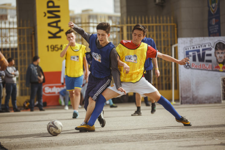Participants  perform at Red Bull Neymar JR's Five in Almaty Kazakhstan on April 15, 2018